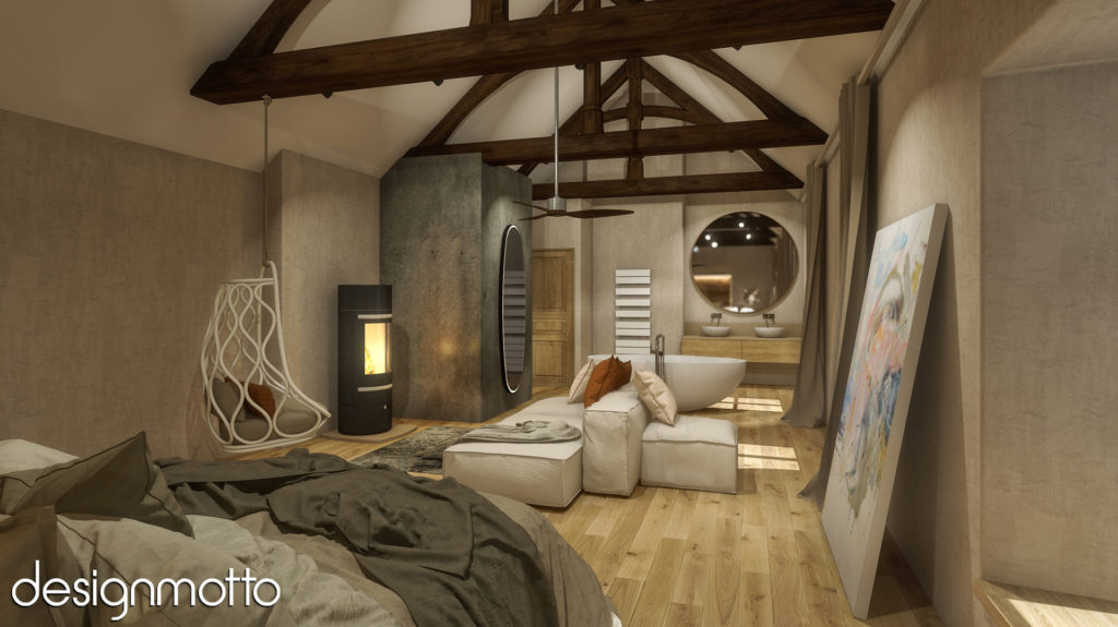 3D Rendering - Main Bedroom - Noyers, France